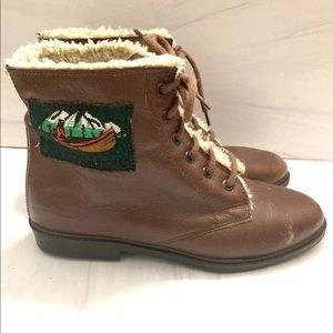 Vintage Lace Up Shearling Booties Ecology Now 7.5
